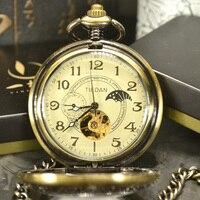 TIEDAN Luxury Skeleton Bronze Retro Antique Skeleton Mechanical Pocket Watch Men Chain Necklace Business Pocket Fob