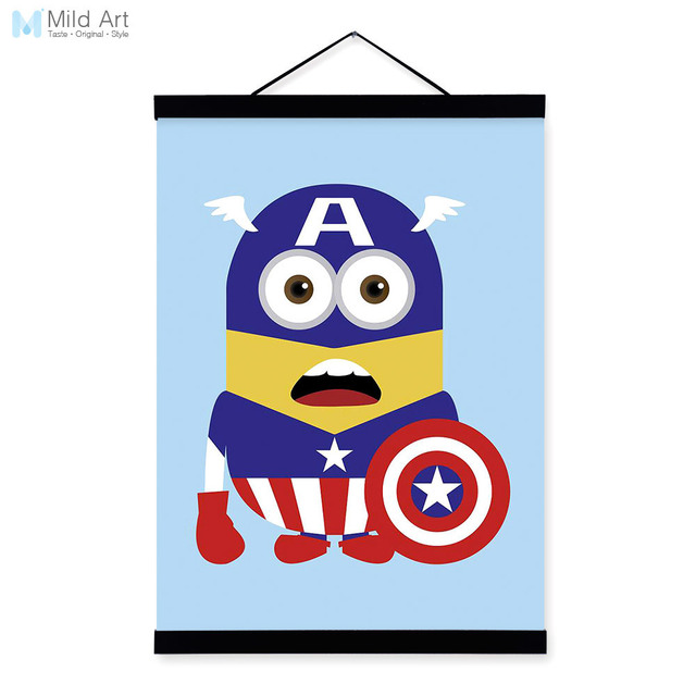 Captain america superhero avengers pop movie cartoon wood framed canvas painting wall art print picture poster