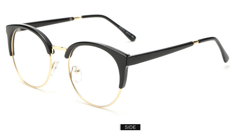 7abe08bce73 Fashion Cat Eye Half Metal Frame Glasses For Women Men Retro Vintage ...