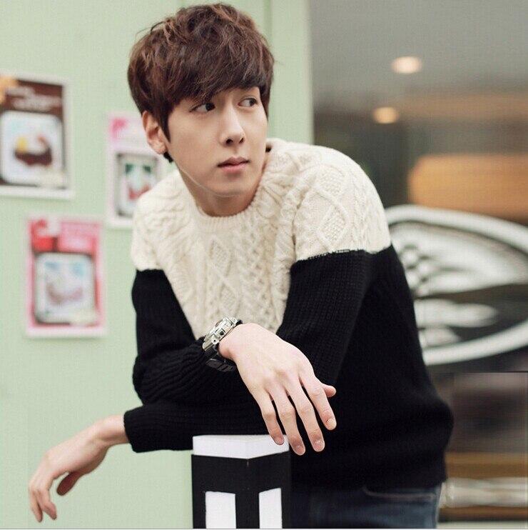 Градиент цвета с круглым вырезом пуловер, свитер для мужчин зимний тренд Свободные Винтаж термальность мужская одежда мужские свитера пуловер для мужчин - Цвет: m83