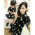 2016 New mother daughter dresses family look star shirts matching family clothes mother son daughter outfits autumn cotton sets