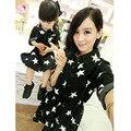 2016 Nova vestidos mãe filha família olhar estrela camisas combinando roupas da família filho mãe filha roupas conjuntos de algodão outono