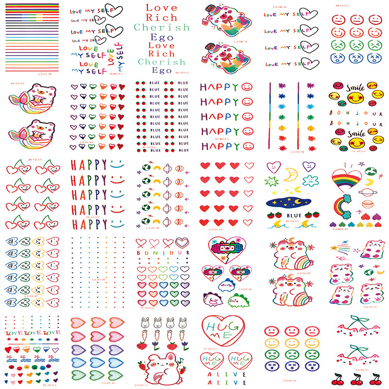 30pcs/set Color Fake Tattoo Heart Rabbit Cute Temporary Tattoo Sticker Kids Girls DIY Body Art Tatuajes Temporales Waterproof