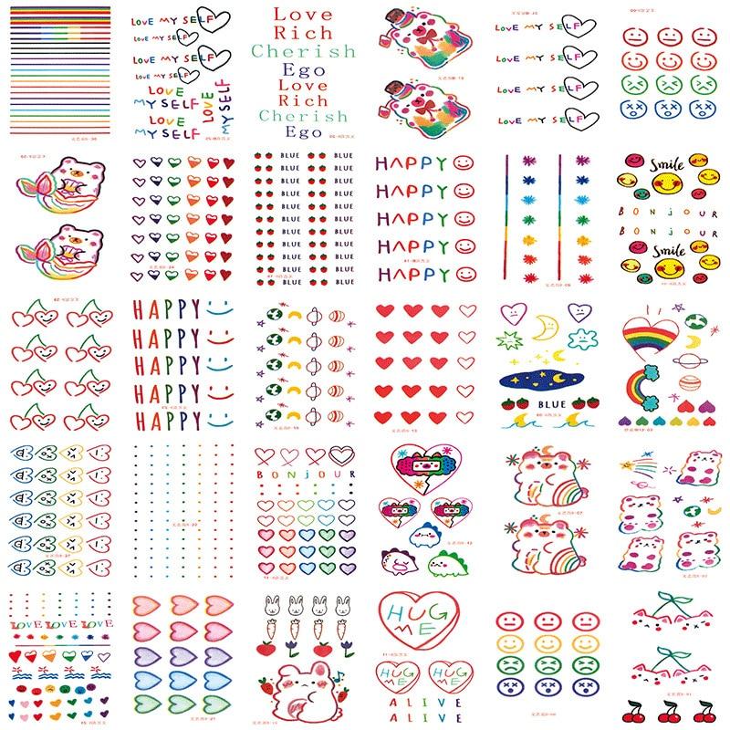 30pcs/set Color Fake Tattoo Heart Rabbit Cute Temporary Tattoo Sticker Kids Girls DIY Body Art Tatuajes Temporales Waterproof