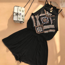 NiceMix 2019 Summer Spring Fashion Solid Crane Print Ruffles Sashes Mini Shorts Women Shirt Vestidos New Playsuit