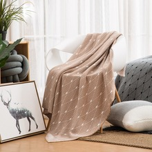 cotton geometric Jacquard blanket for bed sofa aircondition chunky knit weighted throw with tassels adult Bedspread