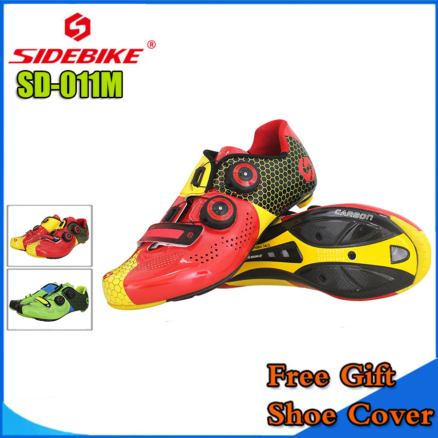 SIDEBIKE MTB Cycling Shoes Men Road Bike Ultra light carbon fiber Sole Self-Locking Bicycle Sport Shoes Zapatillas Ciclismo RED new asiacom full carbon fiber cycling bicycle crank mtb road bike crankset length 170mm ultra light mountain bicycle parts