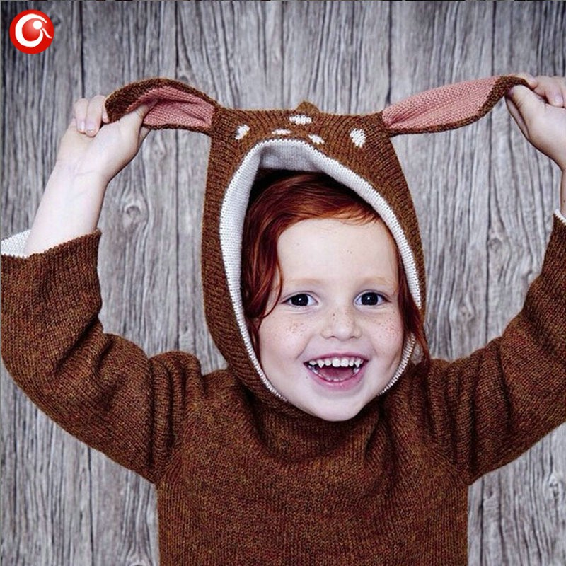 12M-4Y Baby Girls Christmas Deer Costume Cardigan Toddler Kids Boys Dot Animal Knitted Crochet Sweater Outwear Clothing 2016 (7)