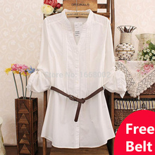 XXXL Plus size 2015 Brand New Women Casual cotton solid long sleeve Women white Shirt Loose long Blouses Ladies' Shirt/Free belt