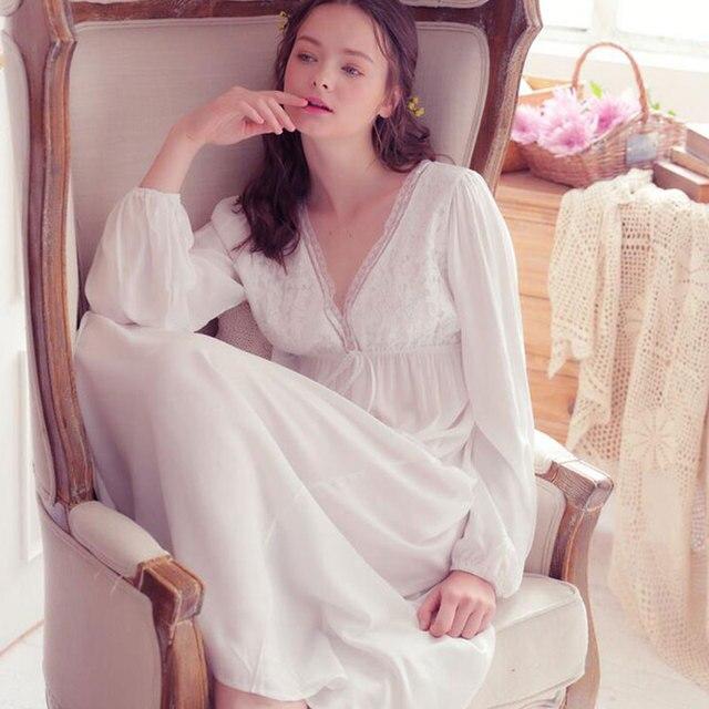 Vintage V Collar High Waist Home Wear Nightwear Women Sring Summer Autumn Sleepwear White Long Cotton Nightgown Robe