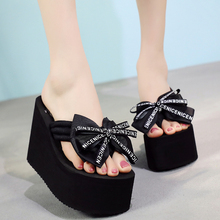11cm Summer Butterfly-knot Wedges Women Flip Flops Platform High Heels Outside Beach Shoes Slippers 11cm high heels platform women flower shoes outside beach shoes open toe summer women flip f