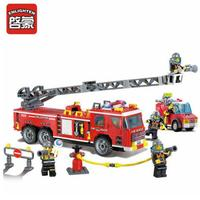 Enlighten Models Building toy Compatible with E908 607pcs Fire Truck Blocks Toys Hobbies For Boys Girls Model Building Kits