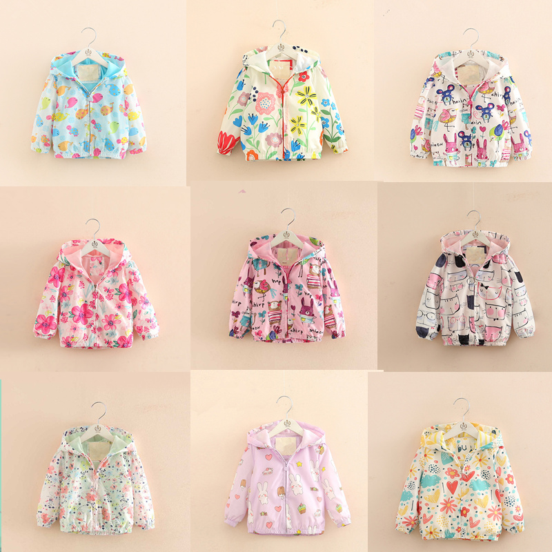90-140 Cute Flowers Spring Children Coat Autumn Kids Jacket girls Outerwear Coats Active girl Windbreaker Baby Clothes Clothing
