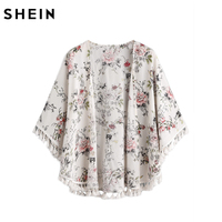 SheIn Fringe Trim Curved Hem Botanical Kimono Womens Tops And Blouses For Summer Three Quarter Length
