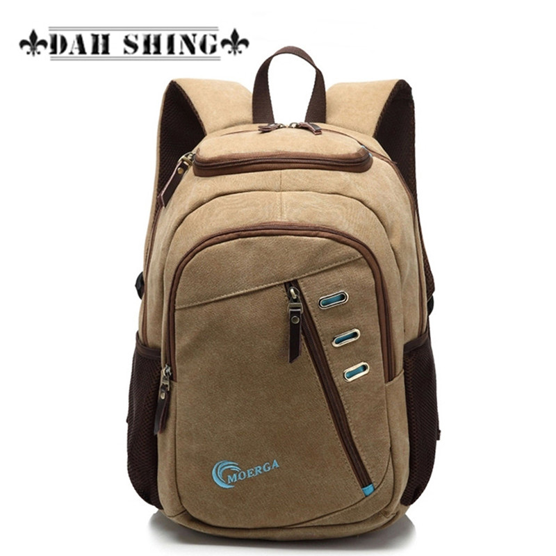 ФОТО Vintage style multiple zipper pockets casual canvas men's Backpacks for 15