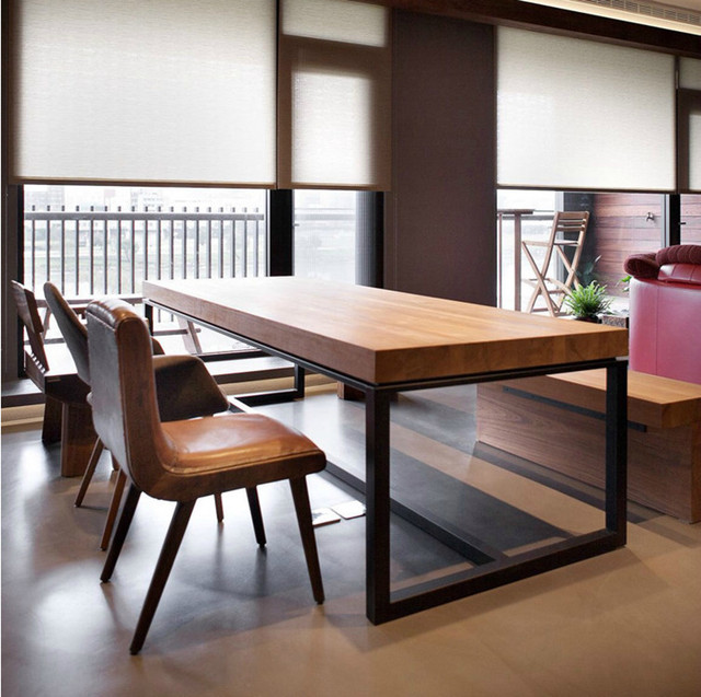 American Vintage Wood Dining Table And Chairs Combination Of Simple Rectangular Folding Tables Wrought Iron