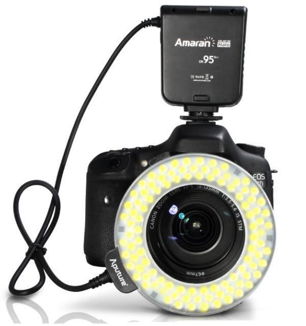Aputure LEDs AHL-HC100 Macro Ring Flash Light CRI95 for Canon 700D 650D 600D 550D 500D 450D aputure ahl c60 60 led macro ring flash light video camera light for dslr canon black