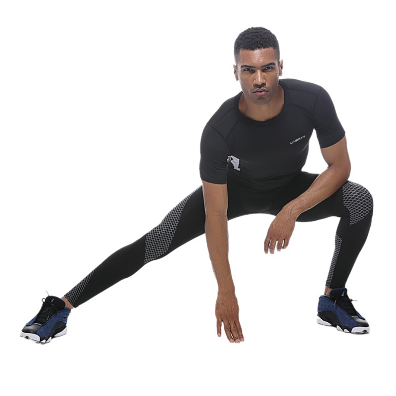2018 Men Running Yoga Trousers Pants Quick Dry Breathable Elastic Leggings Tights Men Sports Leggings Sportswear