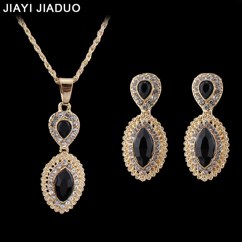 jiayi jiaduo Indian Wedding Jewelry Sets for Women Gold-Color Necklace Earrings set Pendant Bridal Party Gift Accessories Gift