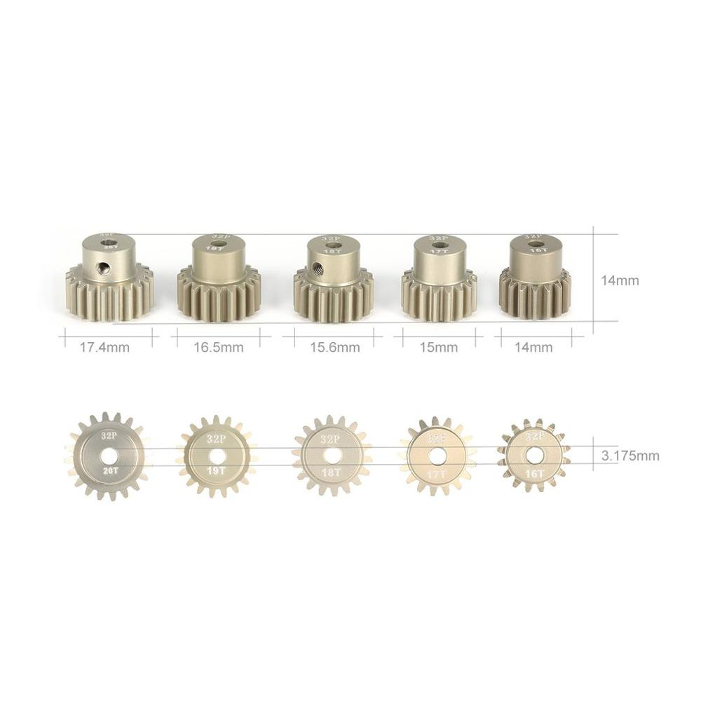 Image 2 - SURPASS HOBBY 5Pcs 32DP 3.175mm 12T 13T 14T 15T 16T 17T 18T 19T 20T Metal Pinion Motor Gear Set for 1/10 RC Car Truck-in Parts & Accessories from Toys & Hobbies