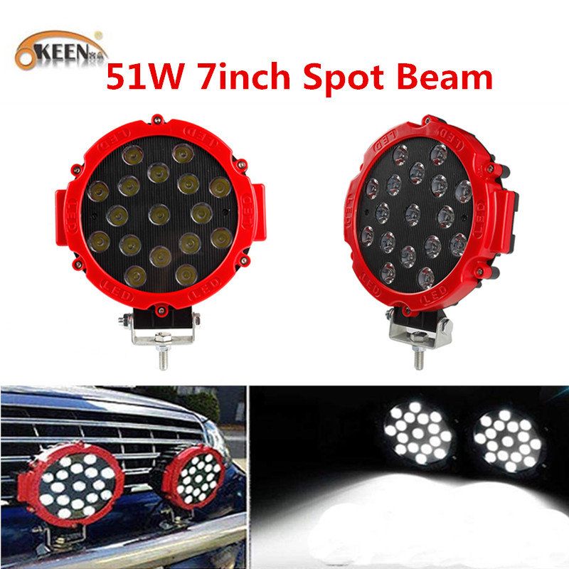 2X 51w LED Work Light SPOT RED Round Off-road fog Driving 4WD Boat UTE ATV Truck