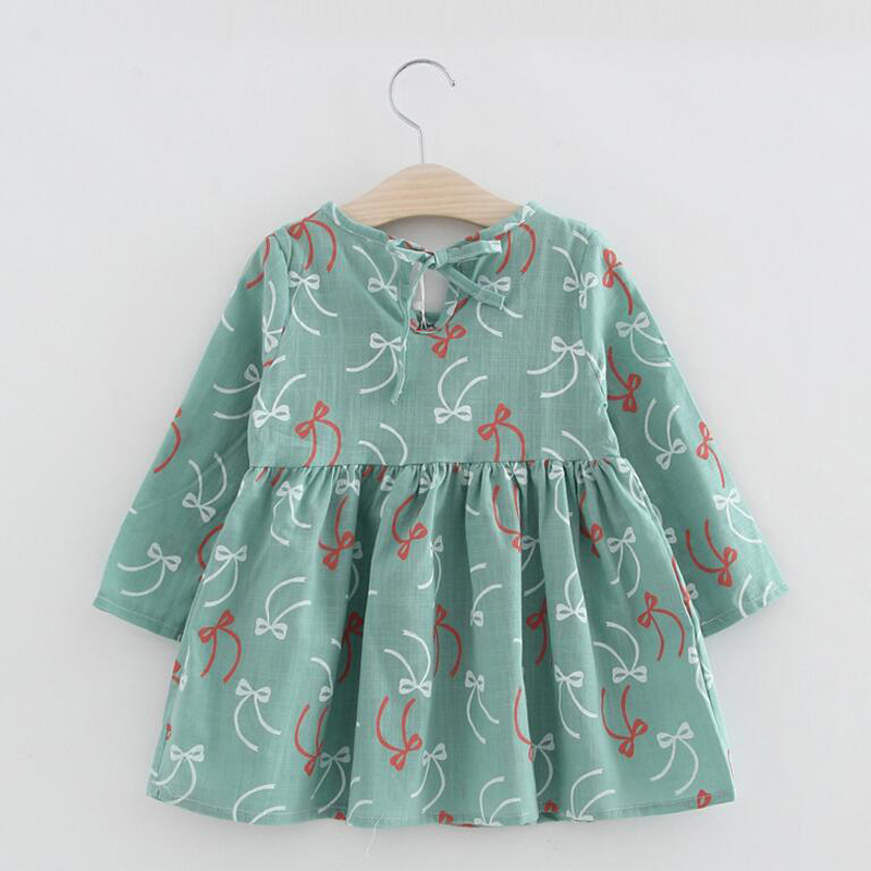 Girl Dress Summer Print Toddler Children Clothing Kids Clothes for Girls Long Sleeve Vintage Fashion Cotton Casual Dresses XL126