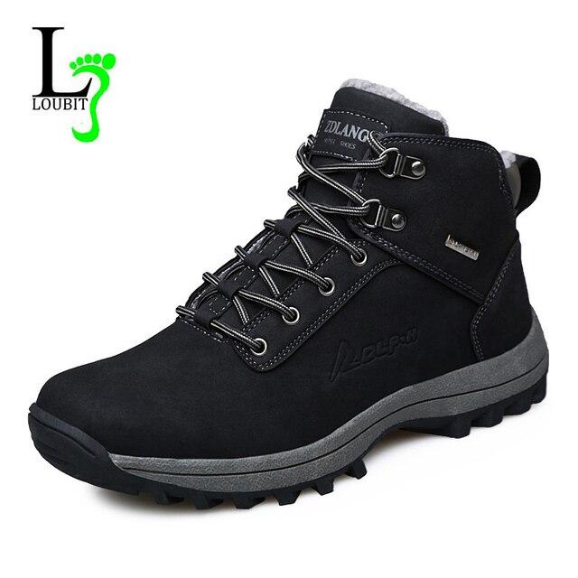 3ad14ba9a الرجال أحذية الشتاء مع الفراء 2019 حذاء الثلج عالي الرقبة دافئ حذاء رجالي  الأحذية الأزياء الذكور