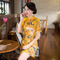 New Arrival Gold Print Cheongsams Flower Retro Vintage Slim Wedding Ceremony Elegant Cheongsams Dress Traditional Chinese