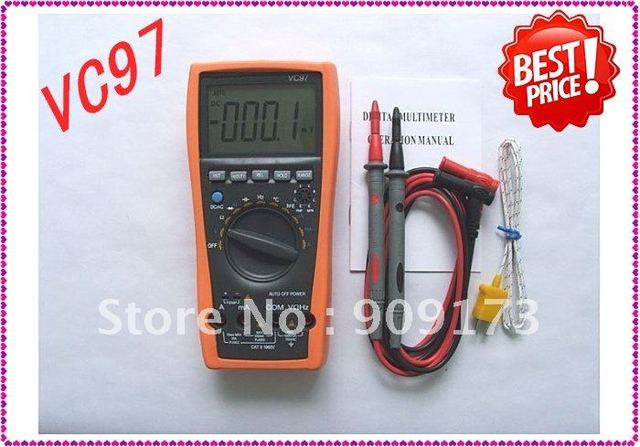 Hot Sale New VC97+ 3999 Auto range multimeter AC DC R C F Temp 3 3/4 Digital Multimeter analog bar+Low Shipping