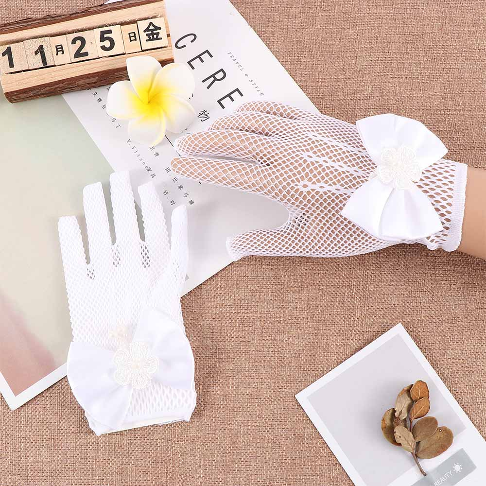 Women Lace Mesh Gloves Ladies White Wrist Gloves Large Bow Knot Marriage Glove Party Cosplay Accessories Mesh Fishnet Gloves