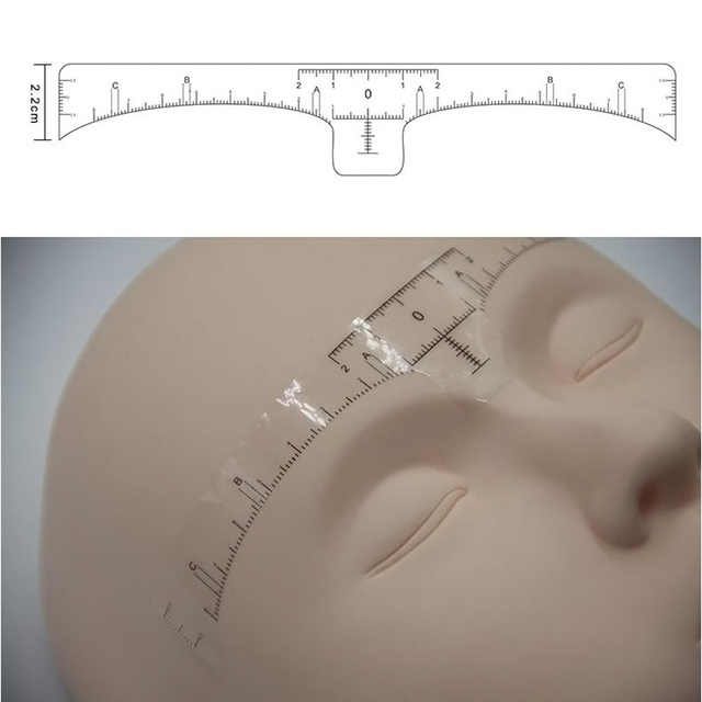 100 Pcs Accurate Permanent Makeup Eyebrow Shaping Tools Disposable Eyebrow Measurement Ruler Sticker 88 4
