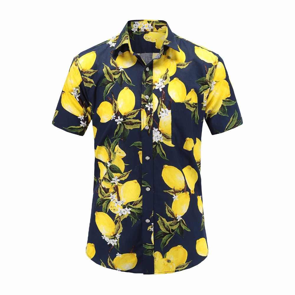 2019 новые летние мужские с коротким рукавом пляжный Гавайские рубашки хлопок повседневные Цветочные стандартные для рубашек плюс размер 3XL мужская одежда мода