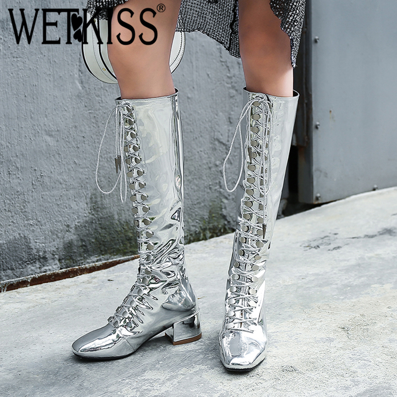 WETKISS Winter Thick Med Heels Women Boots Square Toe Cross Tied Footwear Patent Pu Female Boot Knee High Shoes Woman 2018 New wetkiss genuine leather ankle boots women patent square toe zipper female boot autumn thick high heels winter boots woman shoes