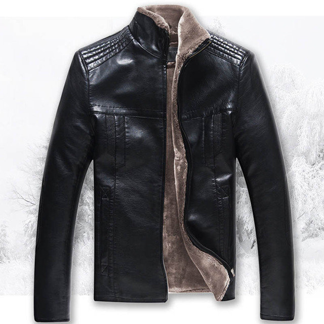 M-5XL Warm Thick Faux Leather Coat for Men Casual Faux Fur Lining Turtleneck Slim PU Jackests Black Outerwear CT01