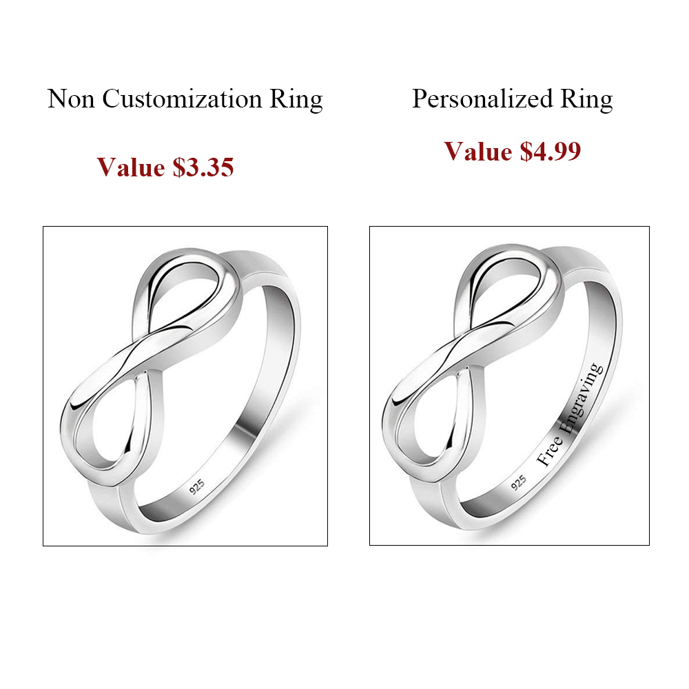 925 Стерлинг Силвер Инфинити Ринг - Модни накит - Фотографија 3