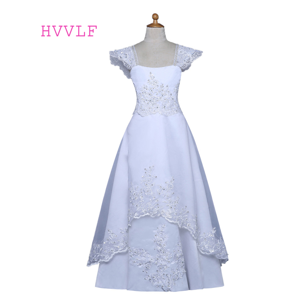 White 2019   Flower     Girl     Dresses   For Weddings A-line Cap Sleeves Lace Beaded First Communion   Dresses   For Little   Girls