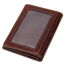New Fashion Genuine Leather Men's Wallets Brand Quality Retro Cow Leather Coin Purse Slim Wallet Leisure Business Card Holder