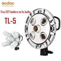 High Quality Godox TL 5 Studio E27 5 Socket Bulb Tricolor Light Lamp Multi Holder Speedring,AC Slave Flash Holder
