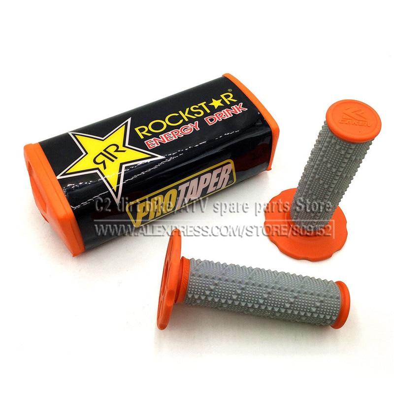 Meshalia Rockstart ProTaper Handle Bar Pads Bike Protector Handlebar Grips Orange for 1-1/8 28mm Bars and Pro Taper Handle KTM