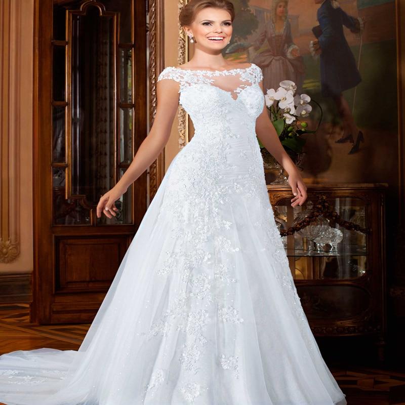 Romantic Wedding Dresses 2017 Short Cap Sleeves Bridal