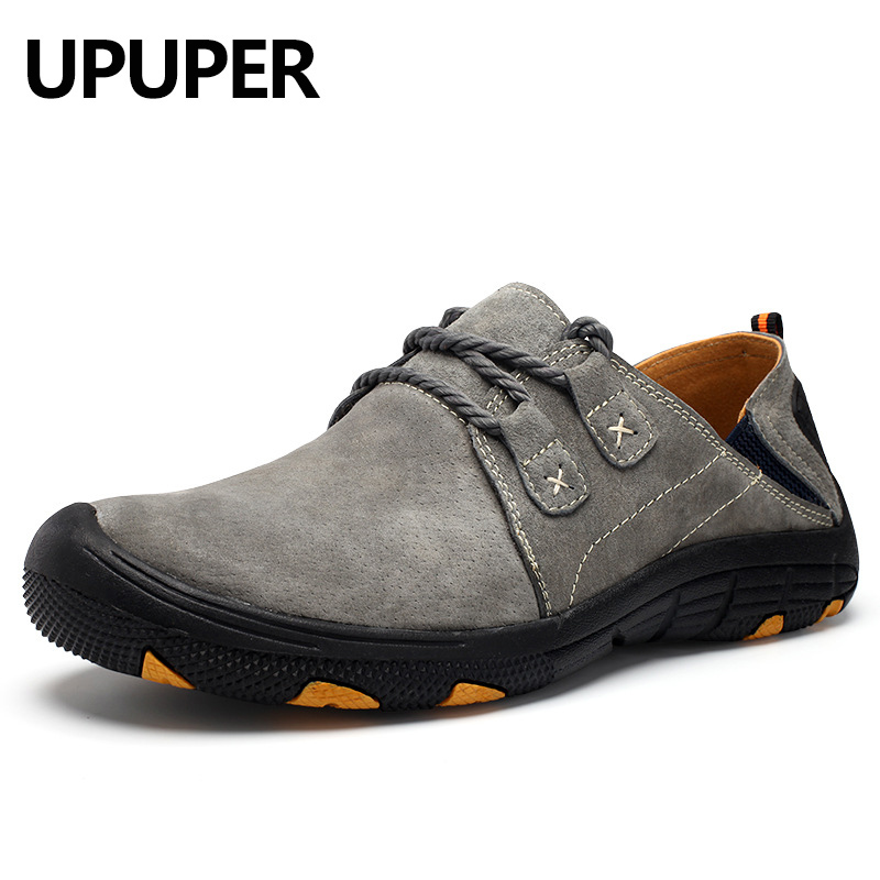 Spring Men's Casual Shoes Breathable Leather Lace Up Non slip Men Sneakers Handmade Comfortable Outdoor Shoes Men Big Size:39 48