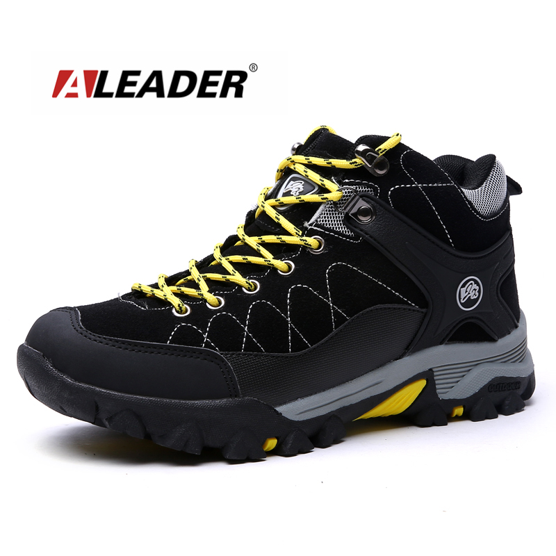Aleader Winter Warm Men Hiking Trekking Boots Men Outdoor Walking Shoes Genuine Leather Climbing Sneakers Jogging Shoes With Fur hot sale winter hiking shoes men breathable outdoor leather trekking lace up sneakers boots brand climbing slip camouflage hunt