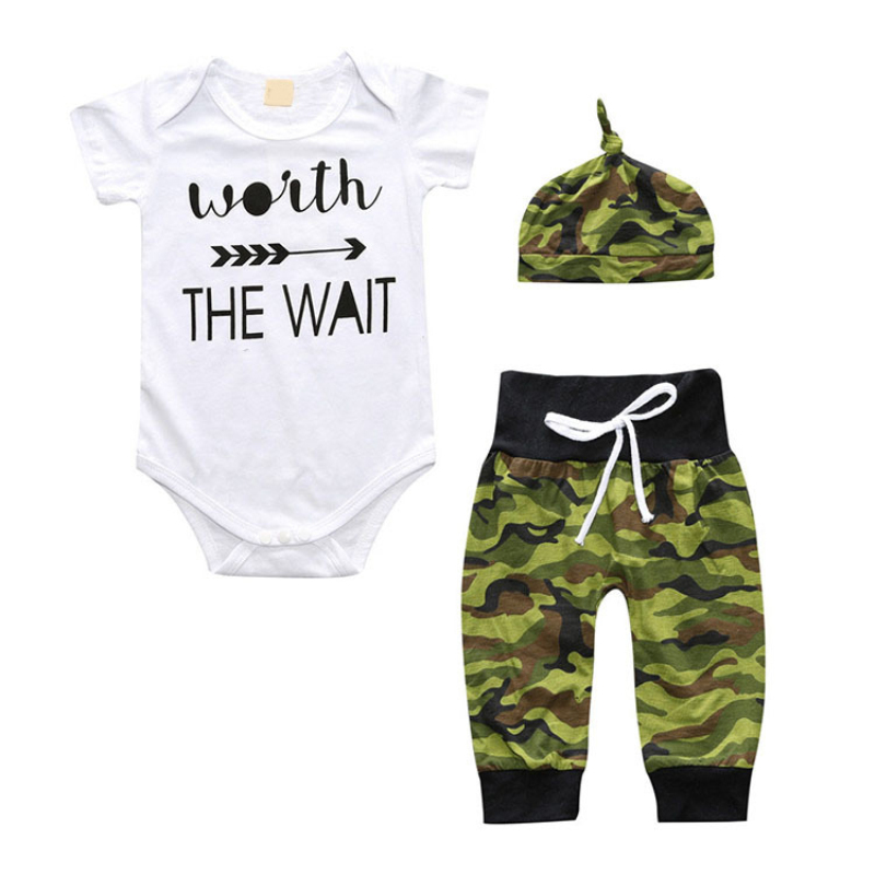 Summer Newborn Clothes Baby Girl Boy Clothes Set Halloween Funny Short Sleeve Cartoon Romper+Pants+Hat Toddler Outfits Sets 3pcs