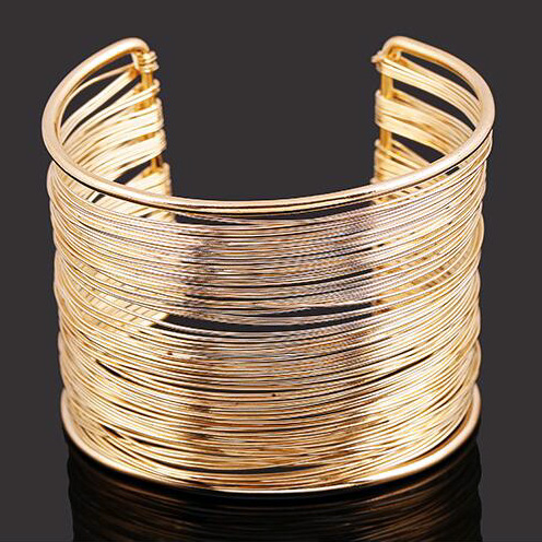 Gold Color Alloy Wire Opening Cuff Bracelet Bangles For Women Glittering Fashion Jewelry Accessories