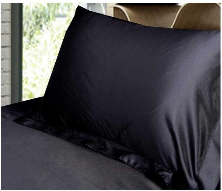 LYN&GY New 2pcs/Lot Grey Black White Silk Pillow Cover Standard Pillowcase Solid Double Face Envelope bedding Silk Pillow Case