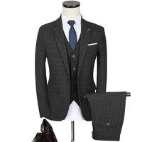 3 stücke Hochzeit Smoking Anzug Männer Herbst Neue Mode Plaid Bräutigam Kleid anzüge 2018 Plus Size Slim Fit Business Casual Männer Schwarzen Anzug