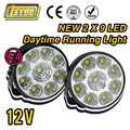 2 X Super Bright White 9 LED Head Front Round  Fog Light  for all Car DRL Off-road Lamp Daytime Running Lights Parking Lamp