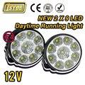 2 X Super Brilhante Branca 9 cabeças de LED Frontal Redondo luz de nevoeiro para todos Carro DRL Faróis de Milha Luzes de Circulação Diurna Lâmpada de Estacionamento