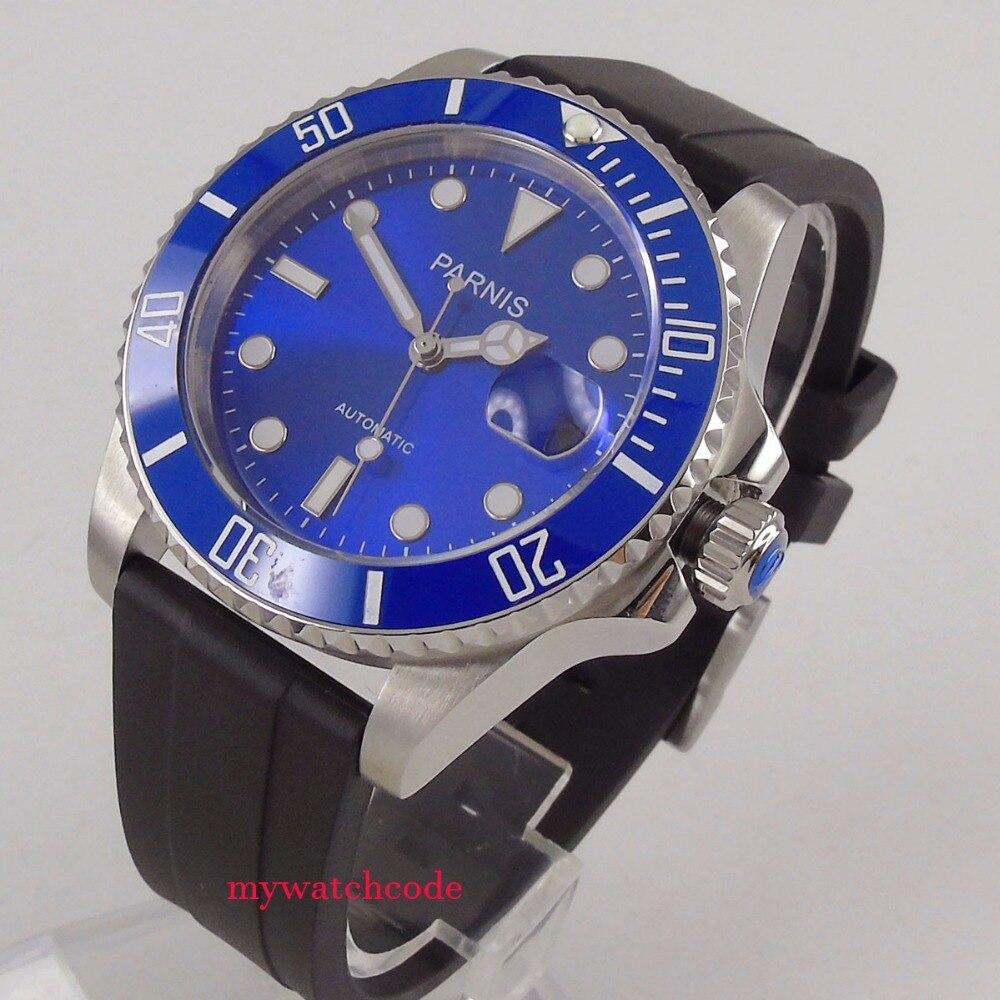 лучшая цена 40mm Parnis blue dial Miyota automatic mens watch rubber strap ceramic bezel 653