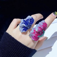 cocktail 925 sterling silver with cubic zircon flower ring adjustable size blue rose red color fashion women jewelry
